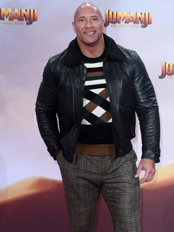 Jumanji Premiere Dwayne Johnson Black Jacket