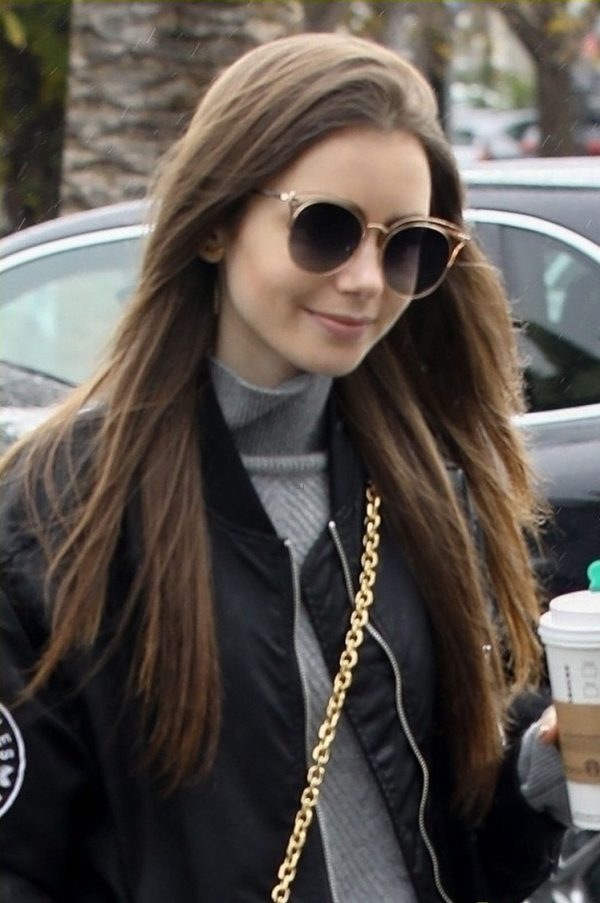 Lily Collins Black Leather Jacket
