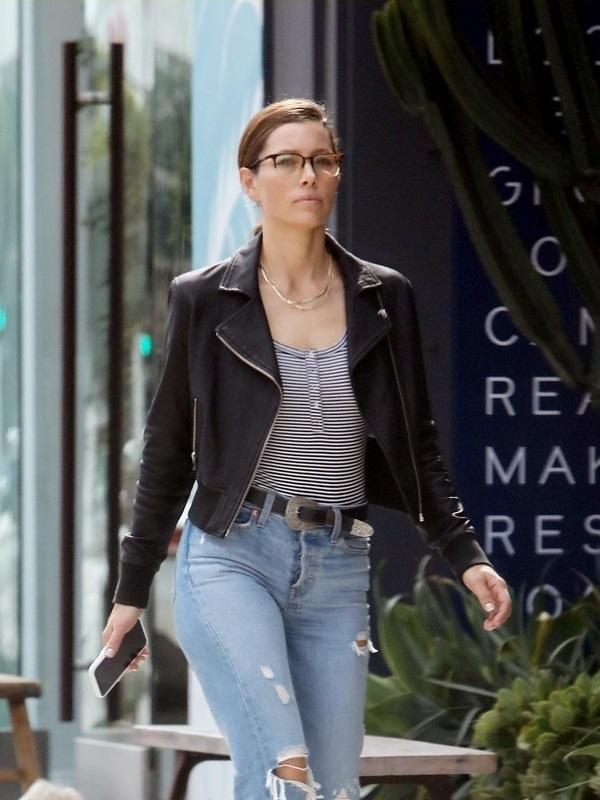 American Actress Jessica Biel Black Leather Jacket