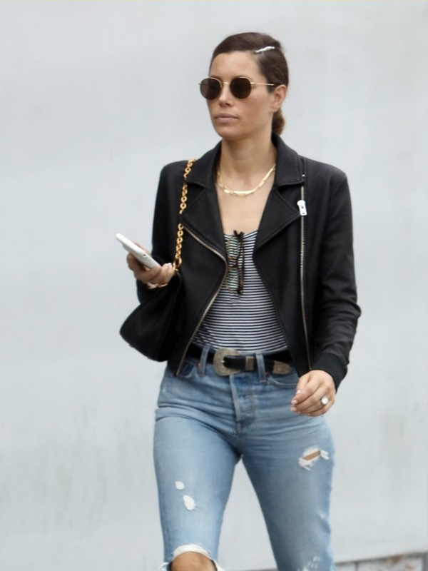 American Actress Jessica Biel Leather Jacket