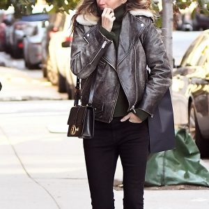 Brazilian Model Gisele Bündchen Leather Black Jacket