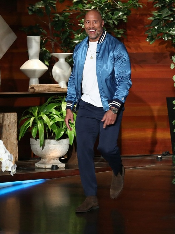 Hollywood Star Dwayne Johnson Satin Jacket
