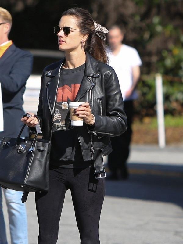Alessandra Ambrosio Black Jacket