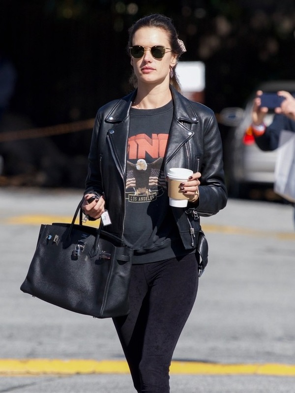Alessandra Ambrosio Black Leather Jacket