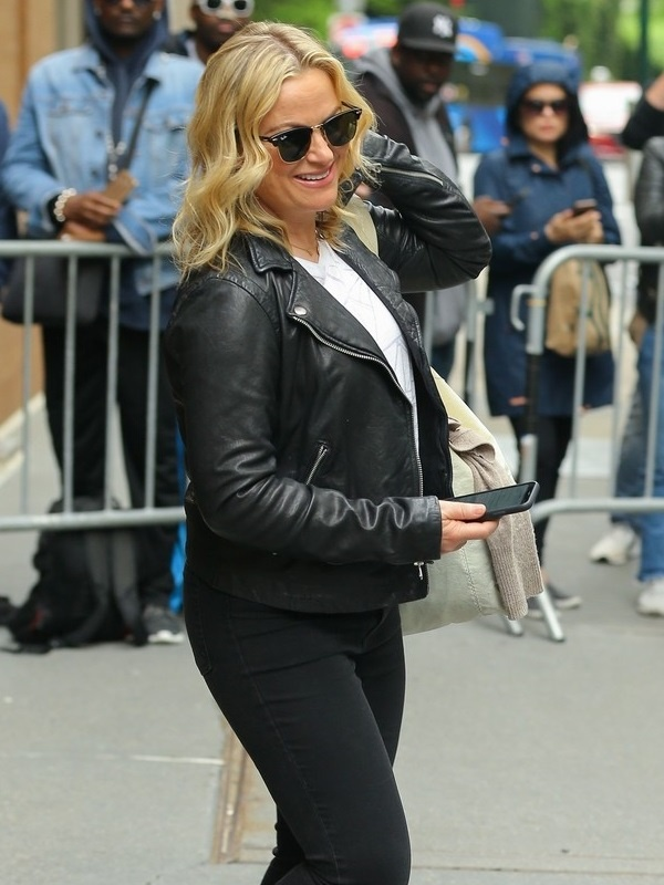 Amy Poehler Black Leather Jacket