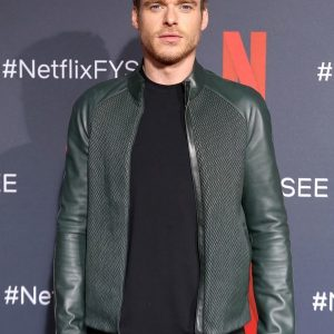 Richard Madden Green Leather Jacket