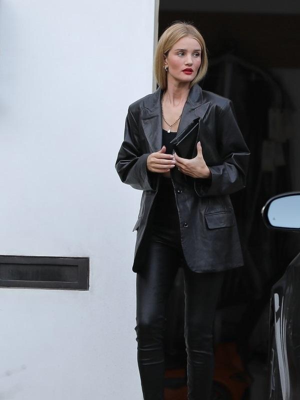 Rosie Huntington-Whiteley Leather Black Jacket