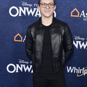 Movie Onward Tom Holland Leather Black Jacket