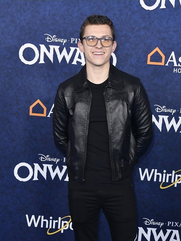 Movie Onward Tom Holland Leather Black Jacket