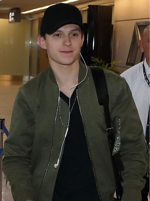 Tom Holland Avengers Star Green Jacket
